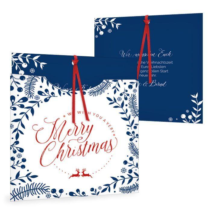 Besondere Weihnachtskarte mit floralem Design in blau