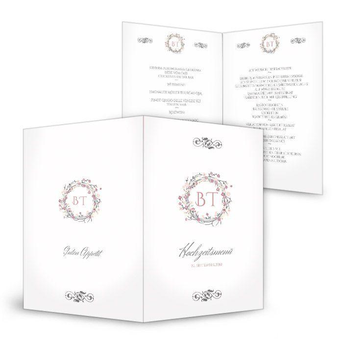 Bezaubernde Menükarte zur Hochzeit mit Blütenkranz in Rosa