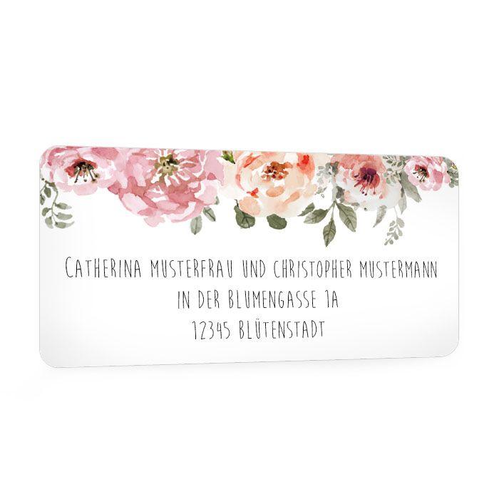 Vintage Adressaufkleber mit Blüten für die Hochzeitspost