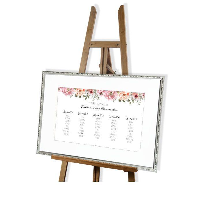 Tischplan zur Vintage Hochzeit mit Aquarellblüten 60 x 40 cm