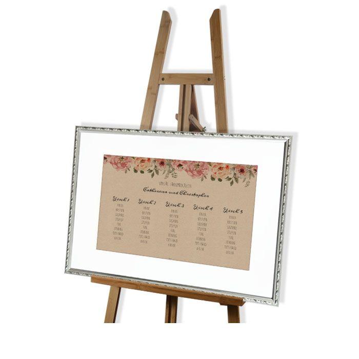 Tischplan zur Hochzeit in Kraftpapieroptik mit Aquarellblumen