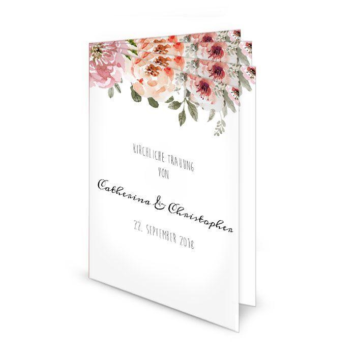 Kirchenheft mit Aquarellblumen zur Vintage Hochzeit