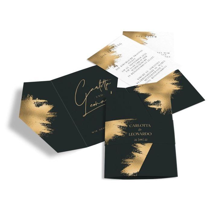Elegante Black and Gold Hochzeitseinladung als Pocketfold mit Goldbrush