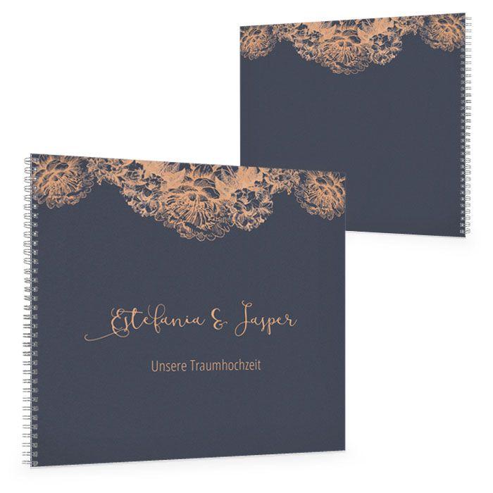 Gästebuch zur Hochzeit in Blau mit Blüten in Kupfer