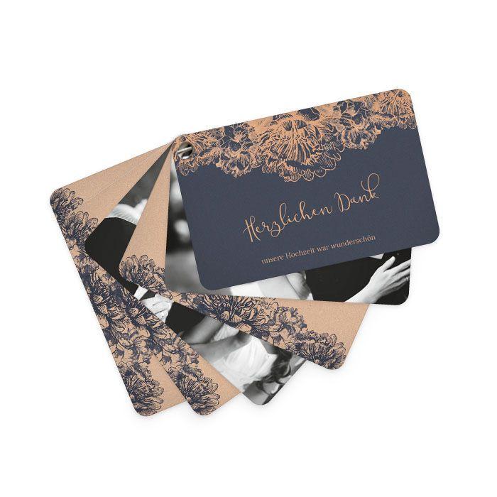 Hochzeitsdanksagung als Kartenfächer in Blau und Kupfer