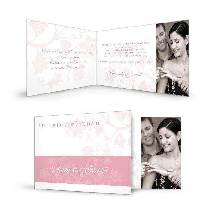 Elegante Danksagung zur Hochzeit mit floralem Design in Rosa
