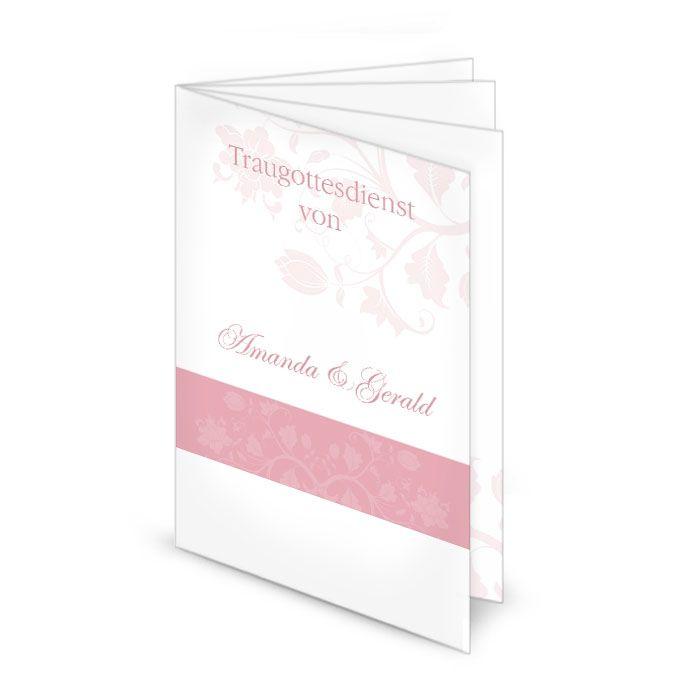 Kirchenheft zur Hochzeit mit floralem Muster in Rosa