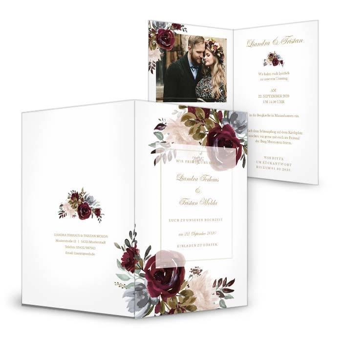 Boho Hochzeitseinladung mit Aquarell Rosen in Burgunder