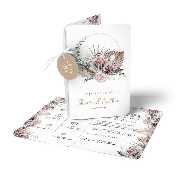 Boho Hochzeitseinladung mit Protea und Eukalyptus