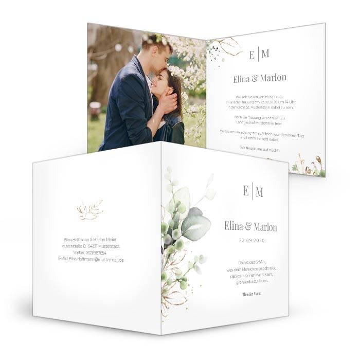 Botanical Einladung zur Hochzeit mit Kräutern und Eukalyptus