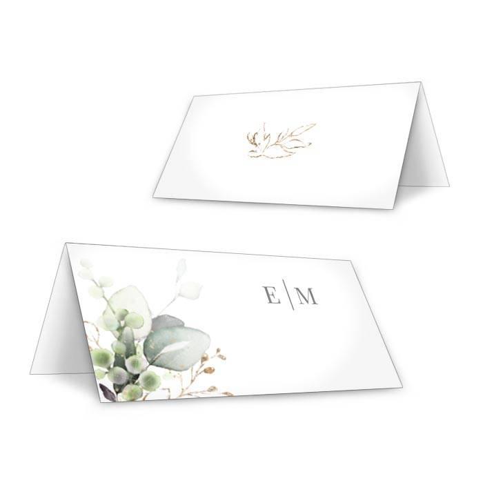 Botanical Tischkarten zur Hochzeit im Greenery Stil