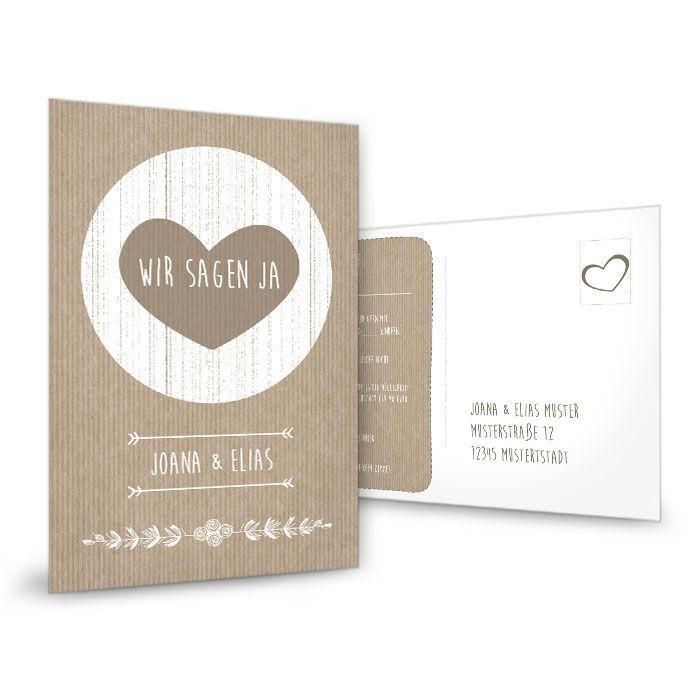 Vintage Antwortkarte zur Hochzeit im Packpapier-Stil