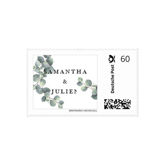 Briefmarke in eurem Hochzeitsdesign mit Eukalyptus