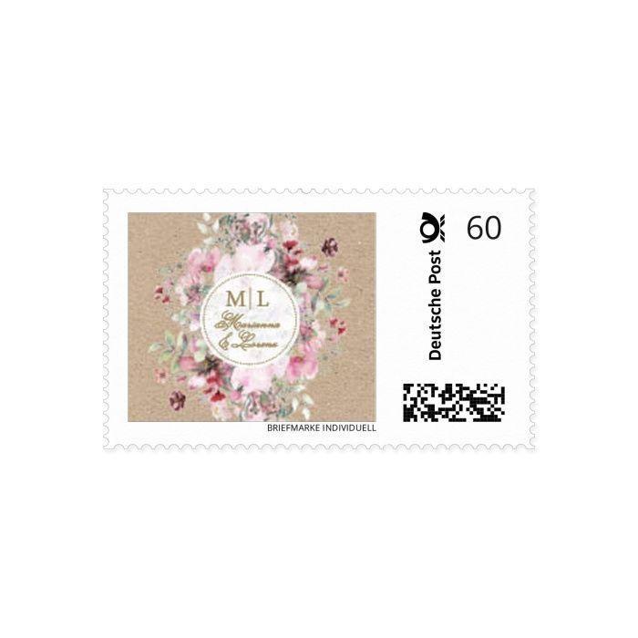 Briefmarke mit euren Namen und euer Design mit bunten Aquarellblumen
