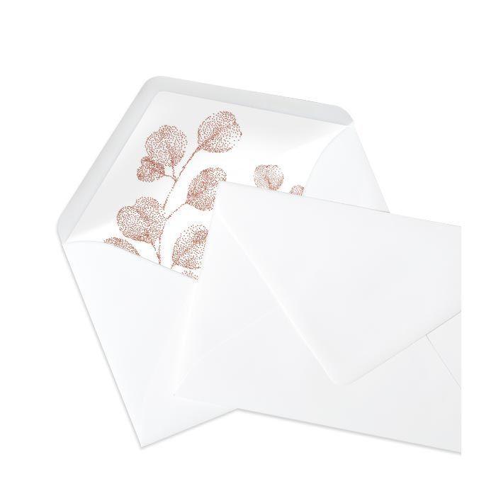Briefumschlag Innenfutter mit stilisierter Blüte - Weiss