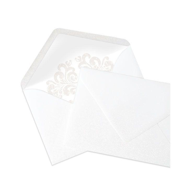 Perlmutt Briefumschlag mit bedrucktem Inlay im barockem Stil