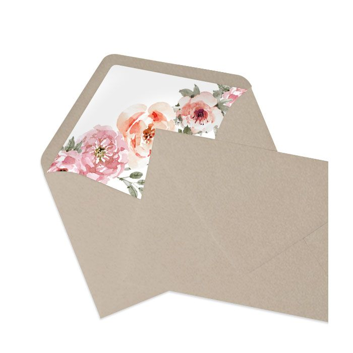 Briefumschlag Taupe inkl. bedrucktem Inlay mit Aquarellblumen