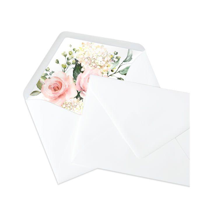 Weißer Briefumschlag mit bedrucktem Inlay und Aquarellblumen