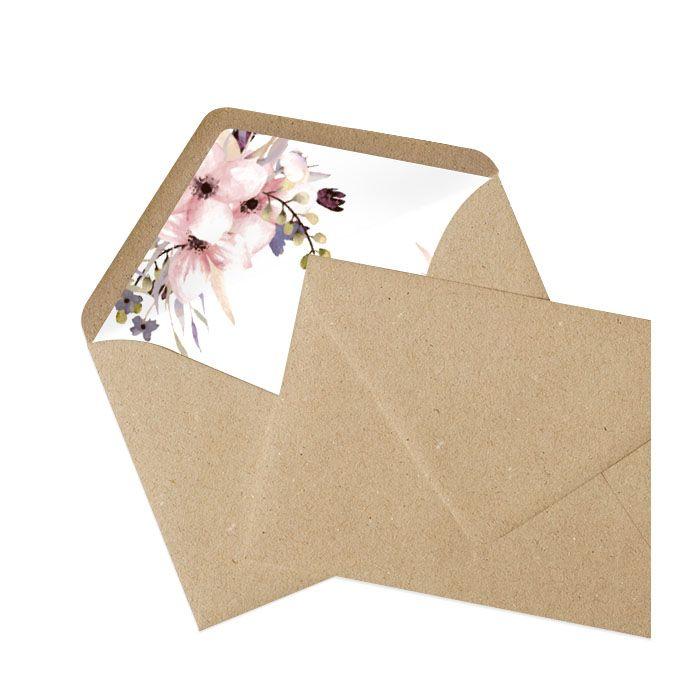 Kraftpapier Briefumschlag mit bedrucktem Inlay Aquarellblumen