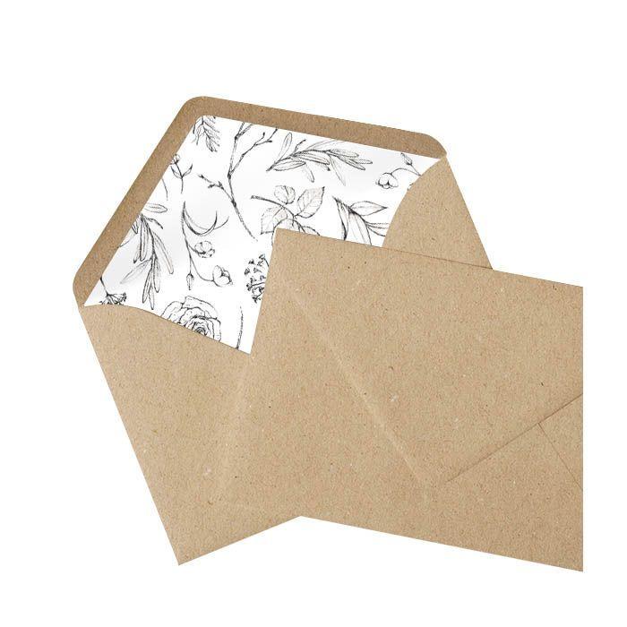 Kraftpapier Briefumschlag mit bedrucktem Inlay - Florales Muster
