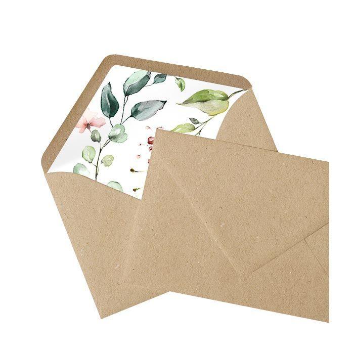 Kraftpapier Briefumschlag mit bedrucktem Inlay im Greenery Stil