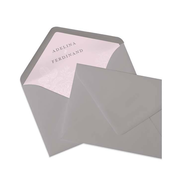 Briefumschlag in Taupe mit bedrucktem Inlay in Rosa