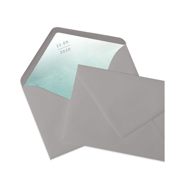 Briefumschlag in Taupe mit bedrucktem Inlay im Greenery Stil
