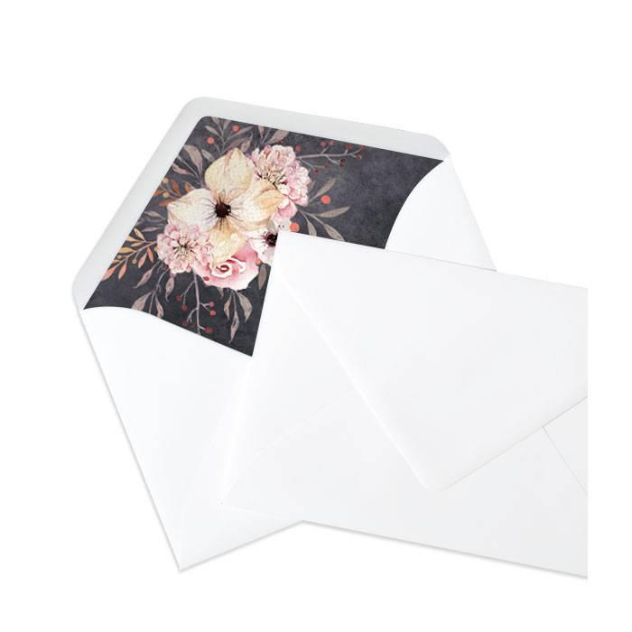 Weißer Briefumschlag mit Inlay in Schieferoptik