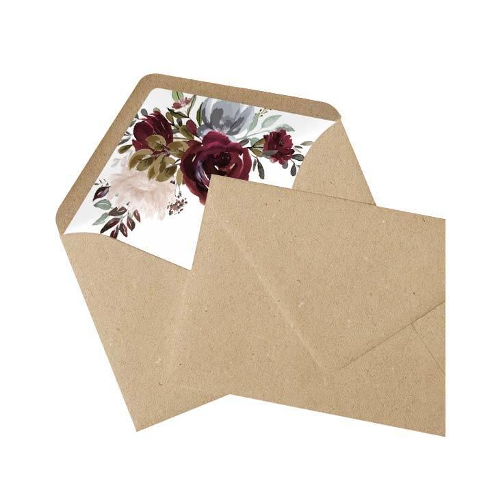 Boho Briefumschlagsinlay mit Aquarellrosen - Kraftpapier