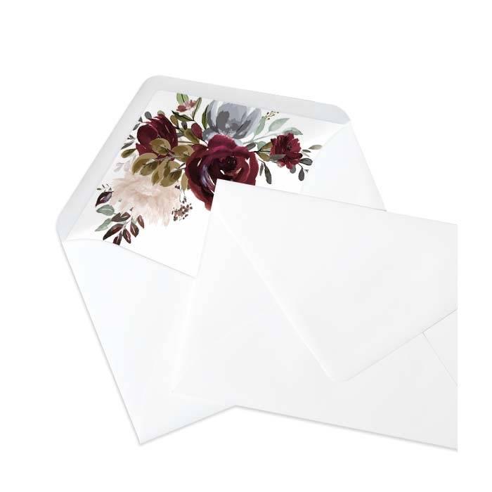 Briefumschlagsinlay mit Aquarellrosen im Bohostil - Weiß
