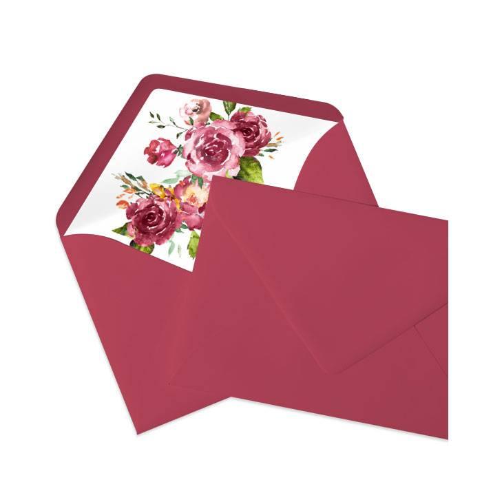 Briefumschlagsinlay mit Aquarellrosen in Bordeaux - Rosso