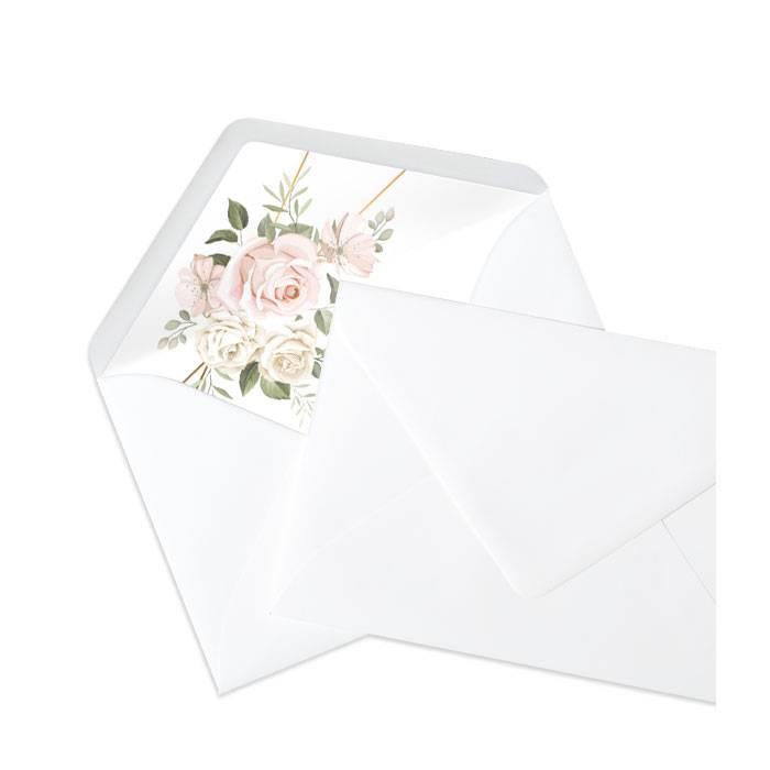 Briefumschlagsinlay mit Aquarellrosen in Rosa - Marble White