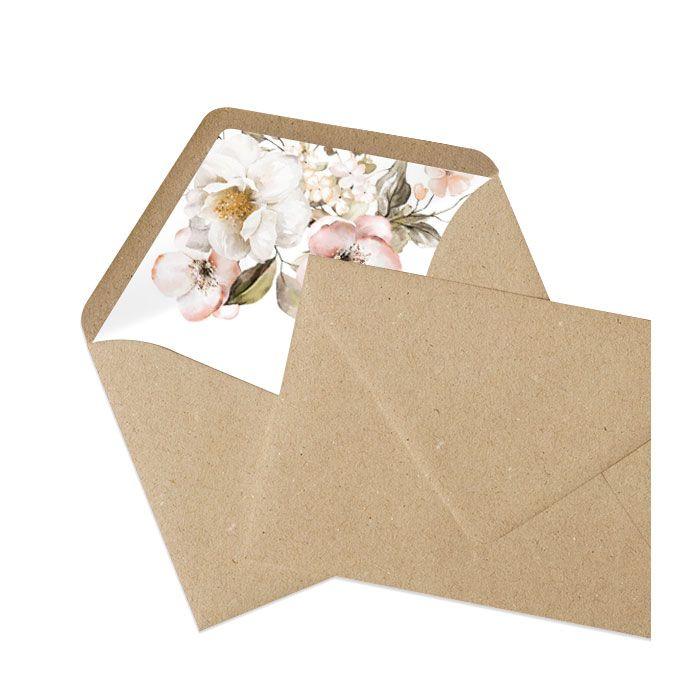Briefumschlagsinlay mit romantischen Blumen - Kraftpapier