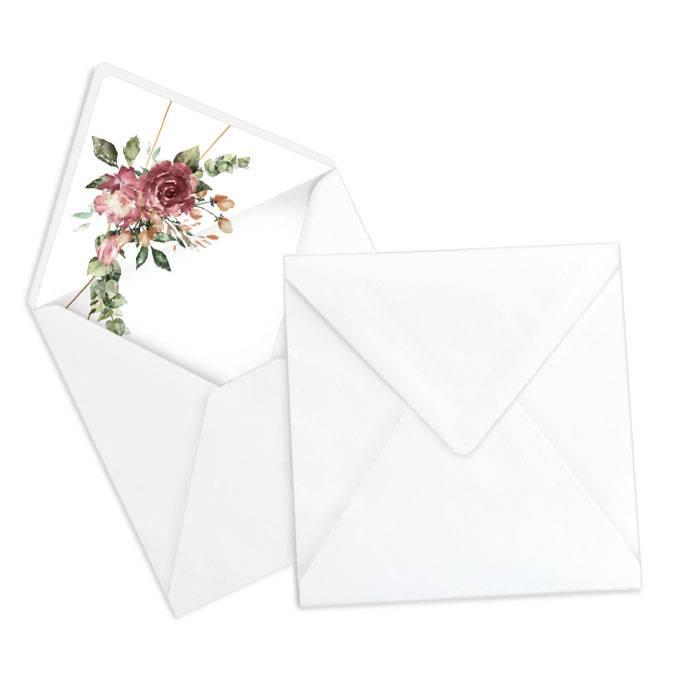 Briefumschlagsinlay mit Aquarellrosen in Bordeaux - Weiß