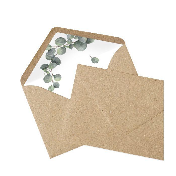 Briefumschlagsinlay mit Eukalyptuszweig - Kraftpapier