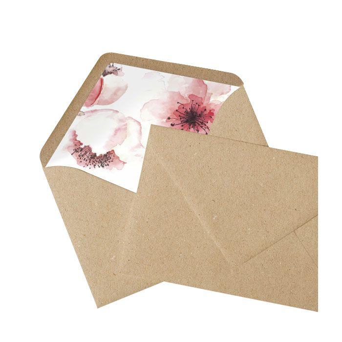 Kraftpapierumschlag mit bedrucktem Inlay mit Kirschblüten