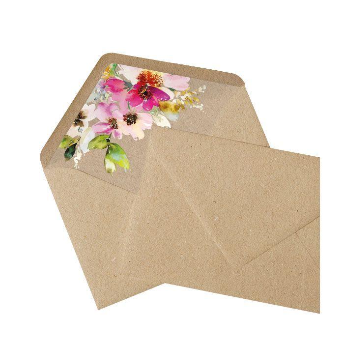 Briefumschlagsinnenfutter mit Aquarellblumen - Kraftpapier