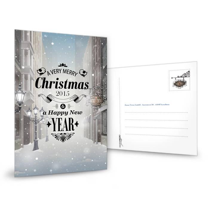 Nostalgische Weihnachtskarte in Grau-Blau mit Christmas Town