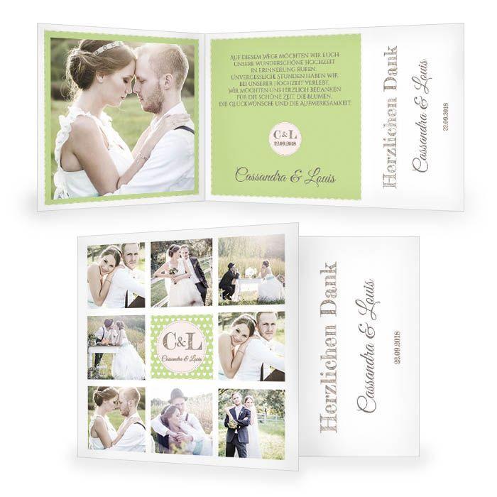 Hochzeitsdanksagung im Retrostil in Grün mit vielen Fotos