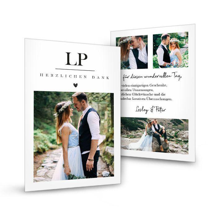 Dankeskarte zur Hochzeit mit Initialen und Herz - Lesley