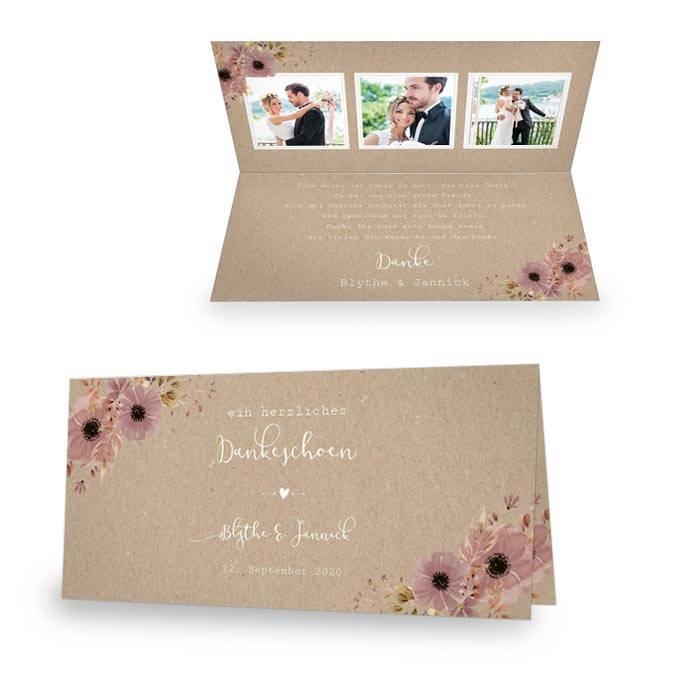 Danksagung zur Hochzeit in Kraftpapieroptik mit Aquarellblumen