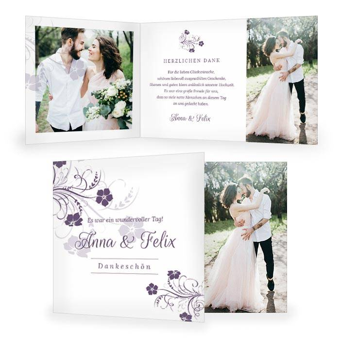 Danksagung zur Hochzeit mit Blumenranke in Lila
