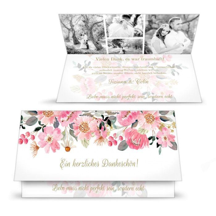 Danksagung zur Hochzeit mit vielen Fotos und einem wunderschönen Blumenaquarell in Rosa