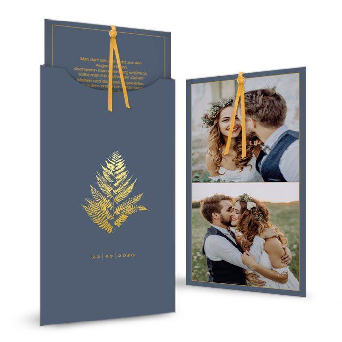 Danksagung als Einsteckkarte mit goldenem Farn in Blau