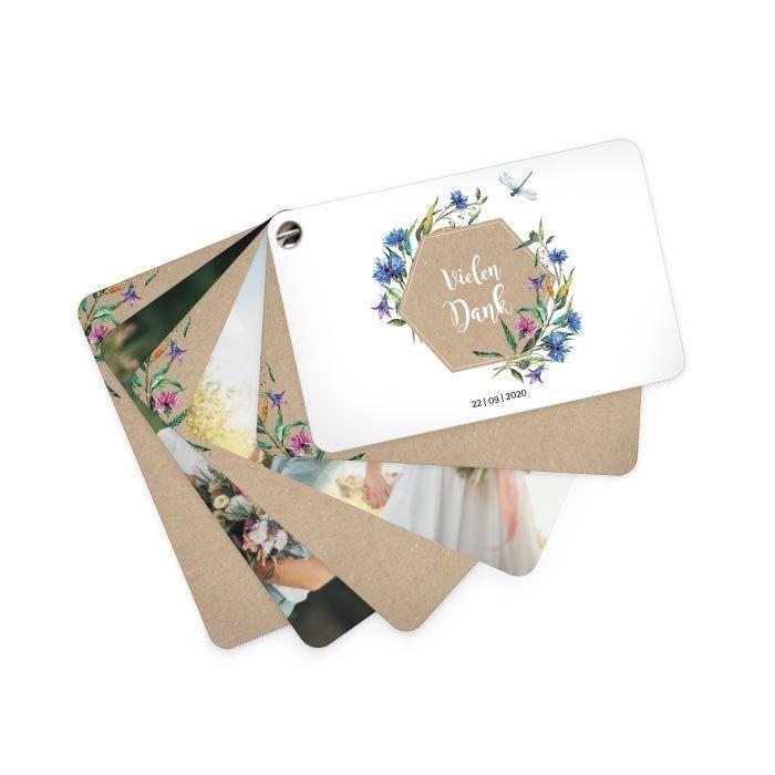 Danksagung als Kartenfächer mit Wildblumen und Libelle