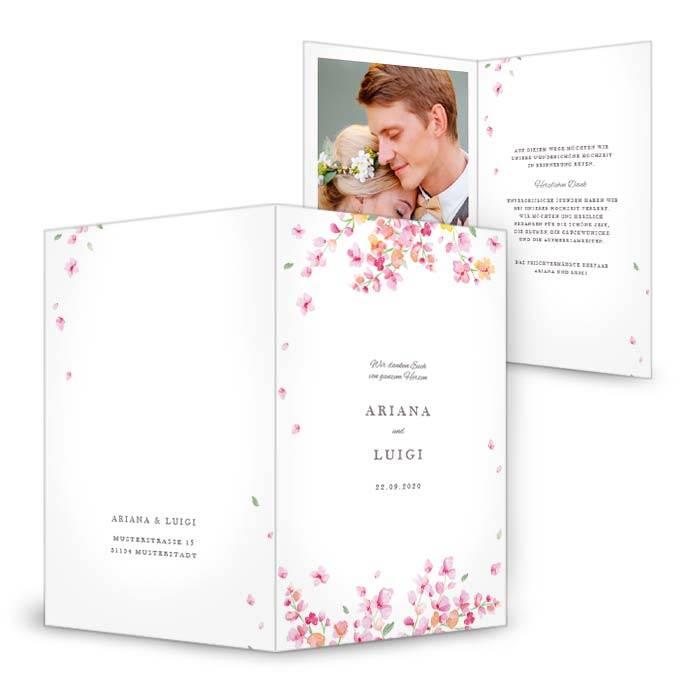 Hochzeitsdanksagung als Klappkarte 11x17 cm mit rosafarbenen Blüten