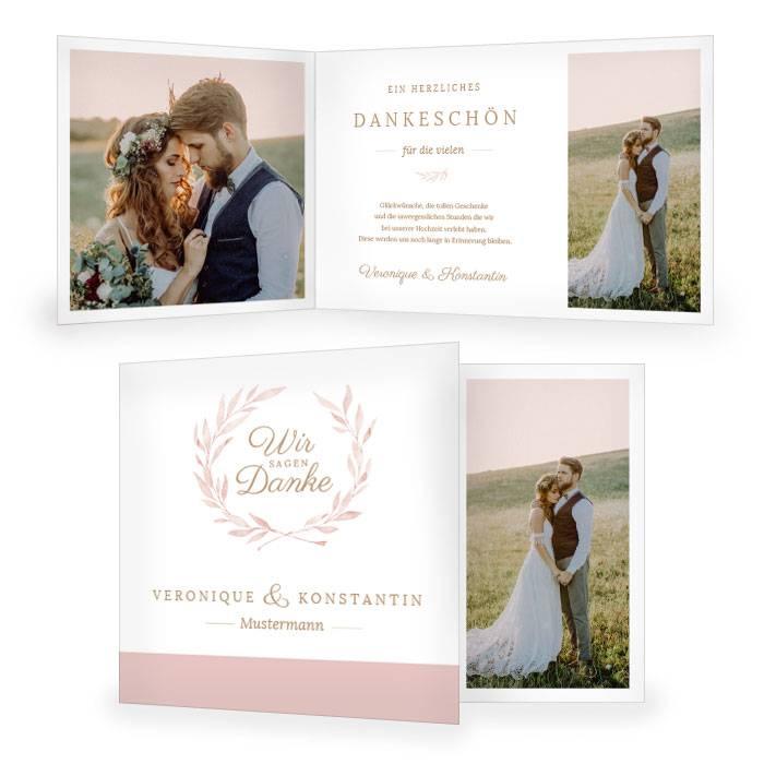 Hochzeitsdanksagung mit Aquarell Blätterkranz in Rosa