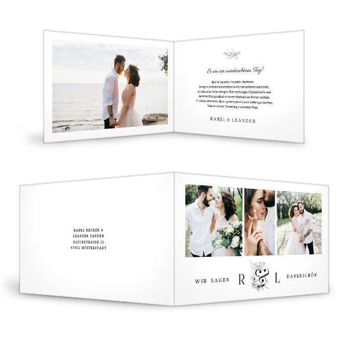 Danksagung zur Hochzeit als Klappkarte mit floralem Monogramm