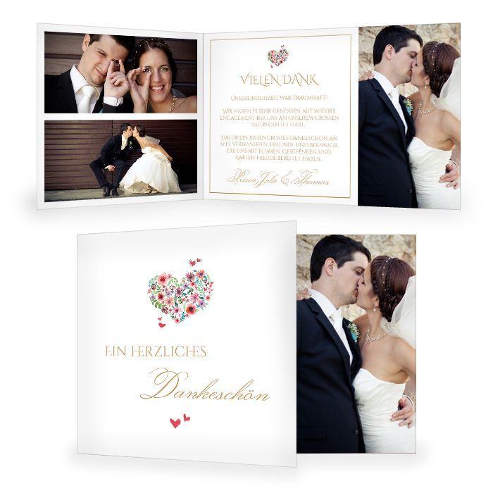 Romantische Hochzeitsdanksagung mit Herz aus Blüten