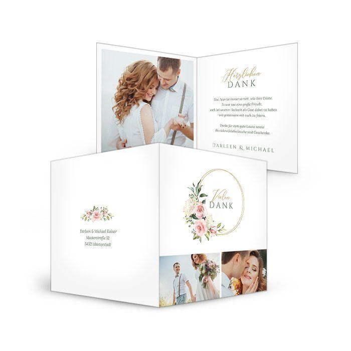Danksagung für Ihre Hochzeit mit Goldreif und Aquarell Blumen